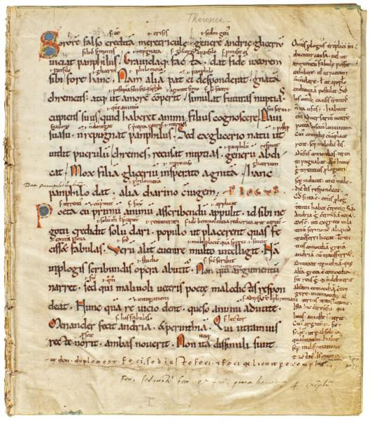 A manuscript of the Comedies of Terence, written in the 13th century