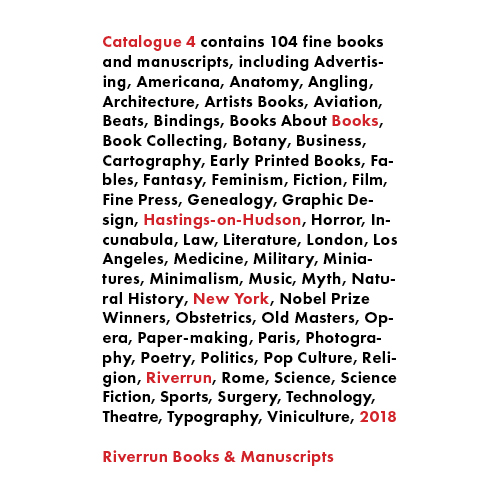 Catalogue 4, Riverrun Books & Manuscripts