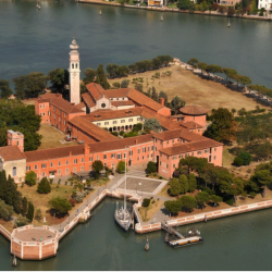 St. Lazaro Library in Venice, aerial