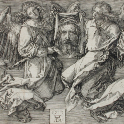 The Sudarium, Displayed by Two Angels, 1513, Albrecht Dürer (German, 1471 - 1528). Unframed: 10.2 × 14.3 cm (4 × 5 5/8 in.). Framed: 39.7 × 52.4 × 3.2 cm (15 5/8 × 20 5/8 × 1 1/4 in.). L.2018.147. Los Angeles County Museum of Art, Los Angeles County Fund. image: www.lacma.org