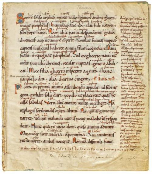 Publius Terentius Afer, Comoediae, Manuscript on Vellum, 13th Century, disbound.