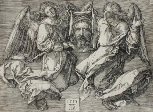 The Sudarium, Displayed by Two Angels, 1513, Albrecht Dürer (German, 1471 - 1528). Unframed: 10.2 × 14.3 cm (4 × 5 5/8 in.). Framed: 39.7 × 52.4 × 3.2 cm (15 5/8 × 20 5/8 × 1 1/4 in.). L.2018.147. Los Angeles County Museum of Art, Los Angeles County Fund. image: www.lacma.org